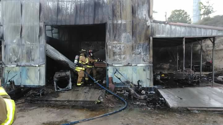 putting out barn fire