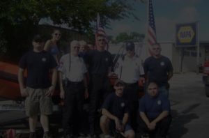 Group photo of fire fighters in McQueeney, Texas
