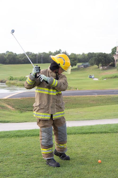 fire fighter golfing